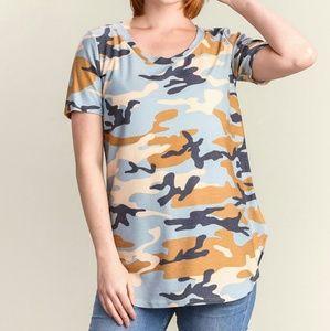 Tan, Blue and White Camo V-neck Shirt